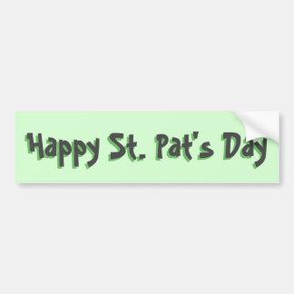 Día del St. Pat feliz en gris oscuro y verde Pegatina Para Auto
