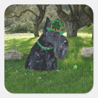 Día del St Patricks de Terrier del escocés Pegatina Cuadrada