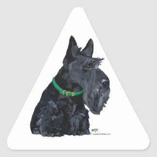 Día del St Patricks de Terrier del escocés Pegatina Triangular