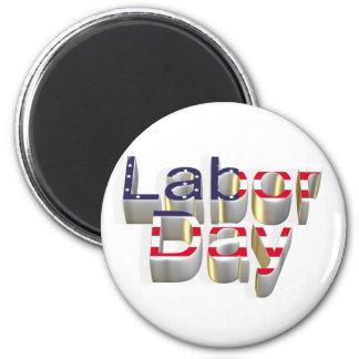 Día del Trabajo - 6 de septiembre Imán Redondo 5 Cm