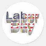 Día del Trabajo - 6 de septiembre Pegatina Redonda