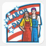 Día del Trabajo Calcomanía Cuadradas Personalizada