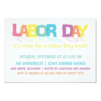 """Día del Trabajo colorido de la diversión Invitación 3.5"""" X 5"""""""