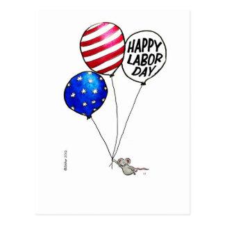 Día del Trabajo - ratón de vuelo con los globos Tarjetas Postales