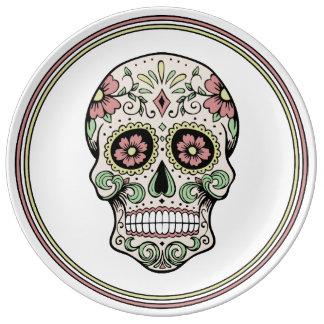 Día del vintage del cráneo muerto del azúcar platos de cerámica