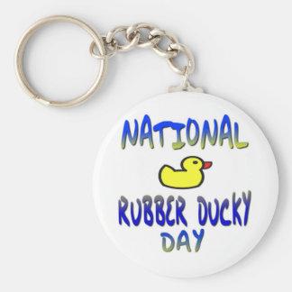 Día Ducky de goma nacional Llavero Redondo Tipo Pin