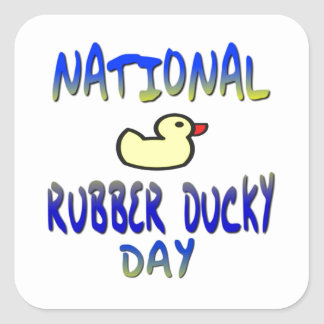 Día Ducky de goma nacional Pegatina Cuadrada