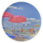 Día en la placa de colectores de la playa platos de comidas