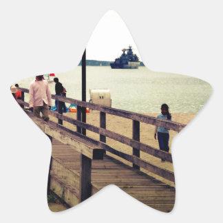 Día en la playa pegatina en forma de estrella