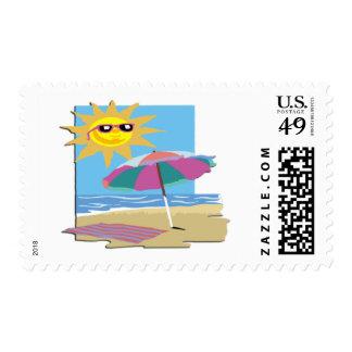 Día en la playa sello