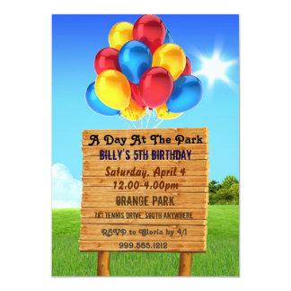 """Día en las invitaciones de la fiesta de cumpleaños invitación 5"""" x 7"""""""