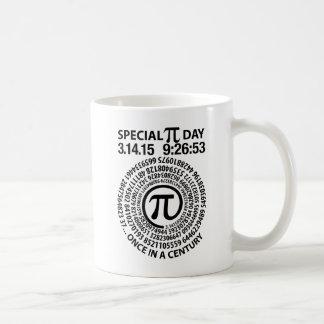 Día especial 2015, espiral del pi taza básica blanca