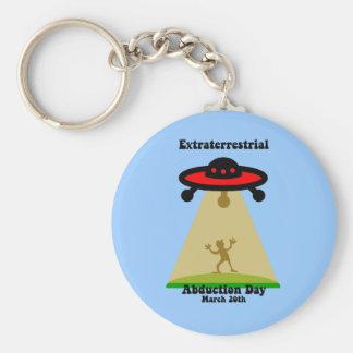 Día extraterrestre de la abducción llavero redondo tipo pin