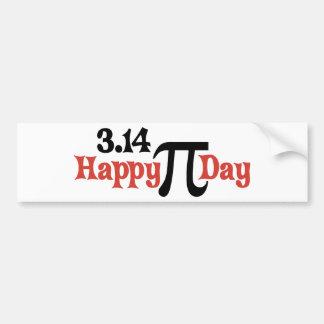 Día feliz 3,14 del pi - 14 de marzo pegatina de parachoque
