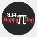 Día feliz 3,14 del pi - 14 de marzo etiqueta redonda