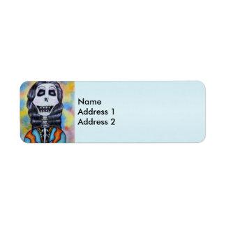Día feliz colorido del esqueleto muerto etiqueta de remite