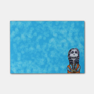 Día feliz colorido del esqueleto muerto notas post-it