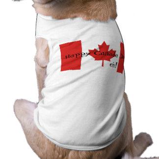 ¡Día feliz de Canadá eh! - Bandera de la hoja de a Playera Sin Mangas Para Perro