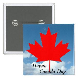 Día feliz de Canadá, hoja de arce y cielo azul Pin Cuadrado