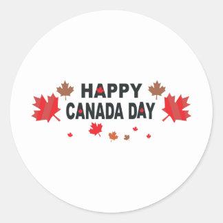 Día feliz de Canadá Pegatina Redonda