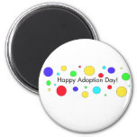 Día feliz de la adopción imán redondo 5 cm