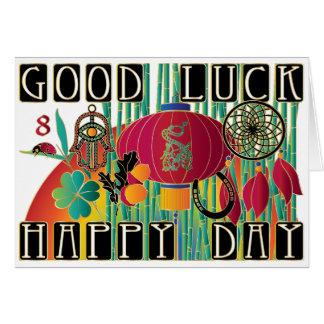 Día feliz de la buena suerte del Mah Jongg Tarjeta De Felicitación