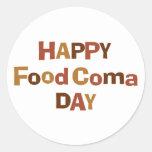 Día feliz de la coma de la comida pegatina redonda