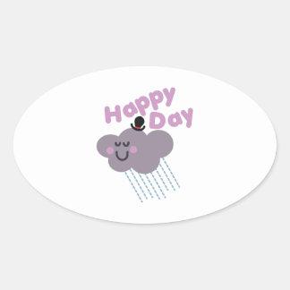 Día feliz de la nube pegatina ovalada