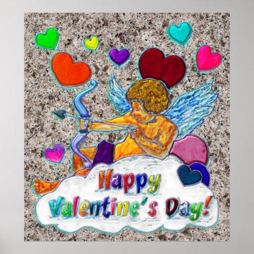Día feliz de la tarjeta del día de San Valentín s Poster