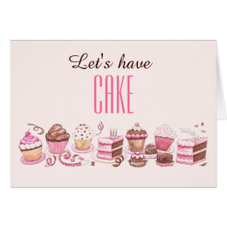 Día feliz de la torta a la tarjeta de cumpleaños d