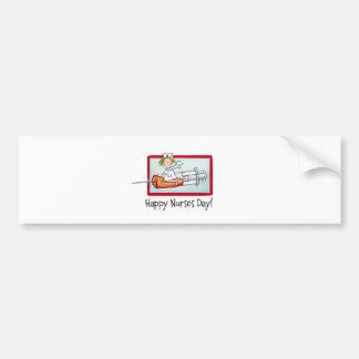 Día feliz de las enfermeras etiqueta de parachoque