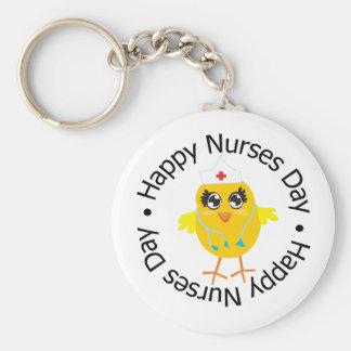 Día feliz de las enfermeras del diseño circular llaveros personalizados