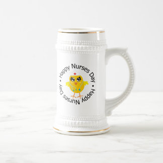 Día feliz de las enfermeras del diseño circular jarra de cerveza