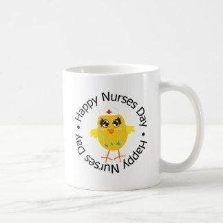 Día feliz de las enfermeras del diseño circular taza de café