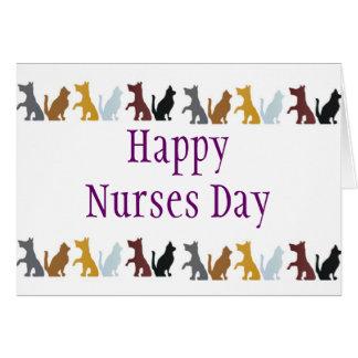 Día feliz de las enfermeras para los gatos y los tarjeta de felicitación