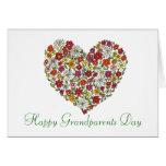 Día feliz de los abuelos - corazón de la flor felicitaciones