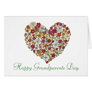 Día feliz de los abuelos - corazón de la flor tarjeta de felicitación