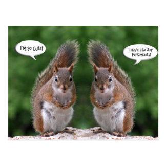 Día feliz de los gemelos, humor de la ardilla tarjeta postal