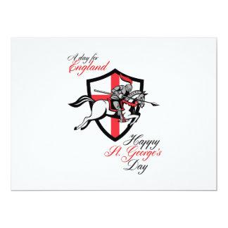 Día feliz de San Jorge al día para el poster retro Invitación 16,5 X 22,2 Cm