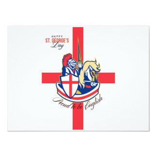 Día feliz de San Jorge orgulloso ser poste retro Invitación 16,5 X 22,2 Cm