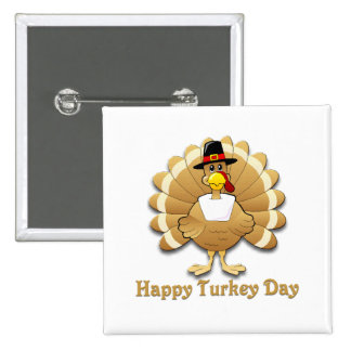 Día feliz de Turquía Pin Cuadrado