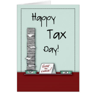 Día feliz del impuesto, humor tarjeton