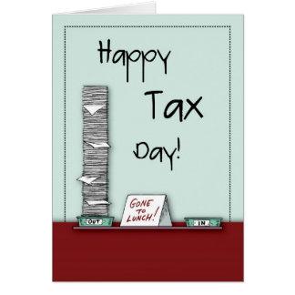Día feliz del impuesto humor tarjeton