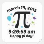 ¡Día feliz del pi! - 9:26 del día 2015 - 3.14.15 Pegatina Cuadrada