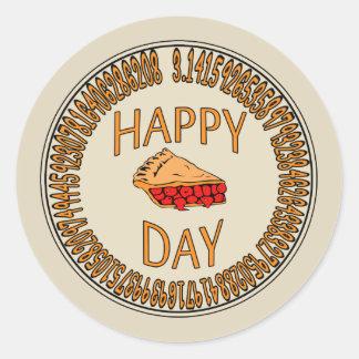 Día feliz del pi con la parte del pi pegatina redonda