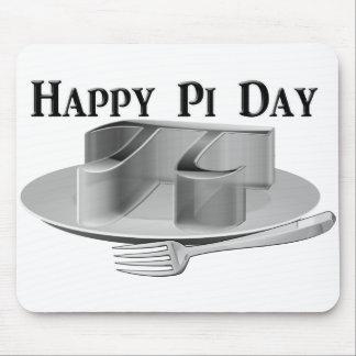 Día feliz del pi - pi en un disco de plata alfombrilla de ratón