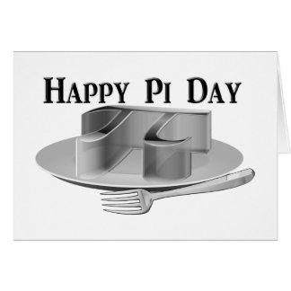 Día feliz del pi - pi en un disco de plata tarjeta de felicitación