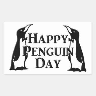 Día feliz del pingüino pegatina rectangular