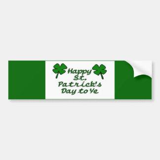 Día feliz del St Patricks Pegatina De Parachoque