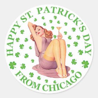 Día feliz del St Patricks - de Chicago Etiqueta Redonda